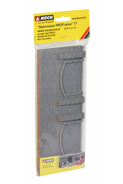 Noch 48058 Стена подпорная с колоннами и арками обработанный камень 25.9Х9.7см 1/120