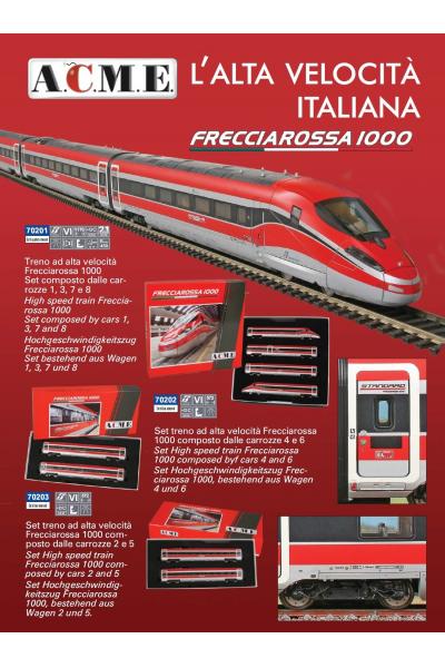 ACME 70201+70202+70203 Электропоезд 8 вагонов ETR 400 Frecciarossa 1000 Trenitalia FS Epoche VI 1/87