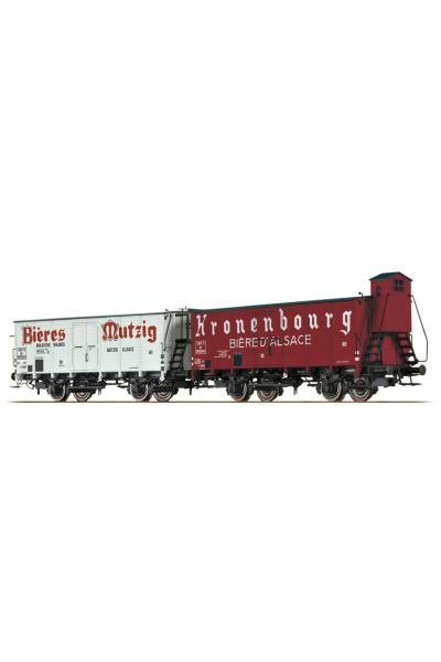 Brawa 45986 Набор вагонов Biere Mutzig Kronenbourg Biere D'Alsace SNCF Epoche III 1/87