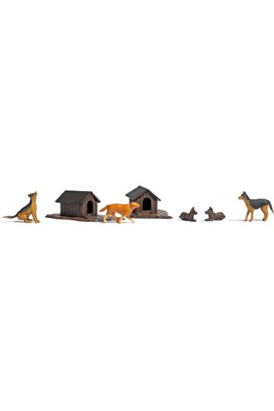 Busch 1197 Набор собак с жильём 1/87