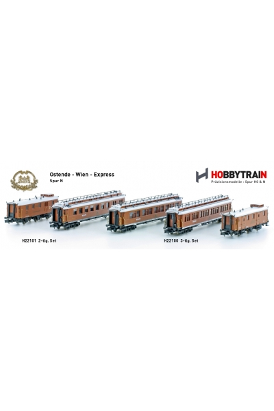 H22100+H22101 Набор пассажирских вагонов 5шт CIWL Ostende-Wien-Express Epoche I 1/160