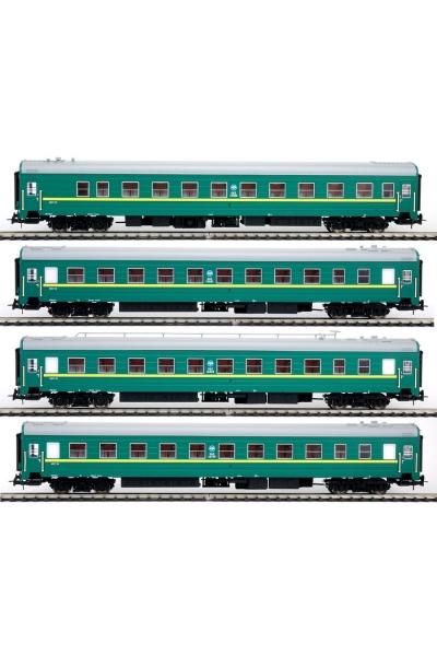 Eurotrain  0203  Набор пассажирских  вагонов Зелёные УФА-МОСКВА РЖД эпоха V 1/87