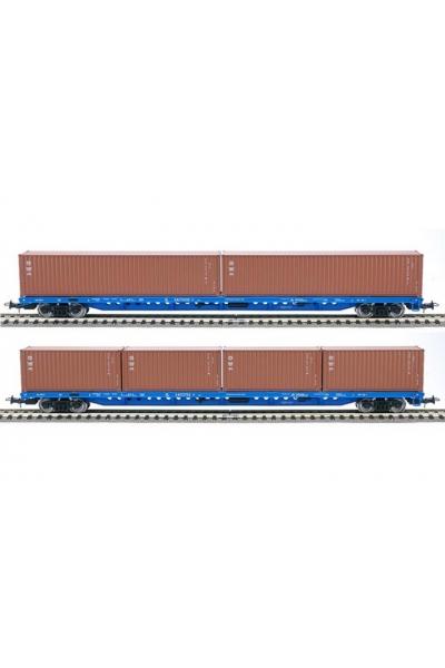 Eurotrain 1011 Набор платформ с контейнерами 2шт РЖД эпоха V 1/87