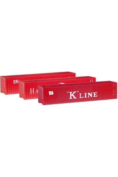 Herpa 066730 Набор контейнеров 40ft 3шт Hamburg Sud/K-Line/CAI 1/120