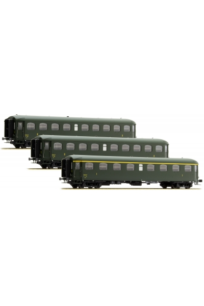 LSM 40188 Набор пассажирских вагонов A8yfi + B9yfi + B9yfi Rapide Nord SNCF Epoche III 1/87