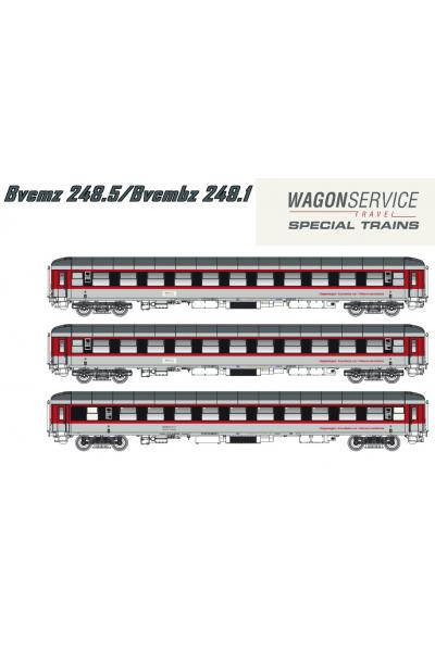 LSM 48017 Набор пассажирских вагонов Bvcmz 248/Bvmbz 249 Wagonservice Travel Epoche VI 1/87