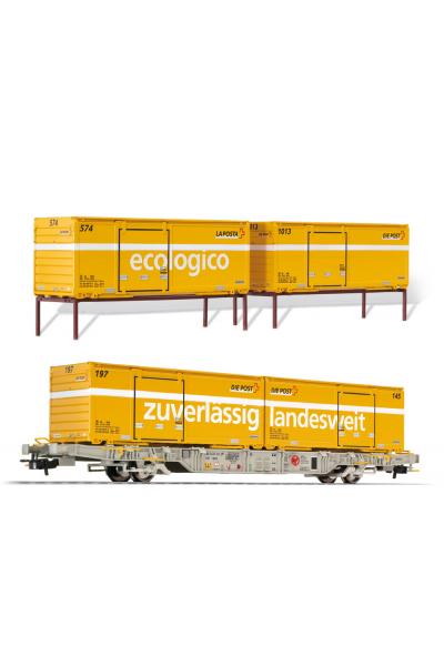 Liliput 240040 Набор вагон Lgnss AEE с контейнерами 4шт Schweizer Post  Epoche VI 1/87