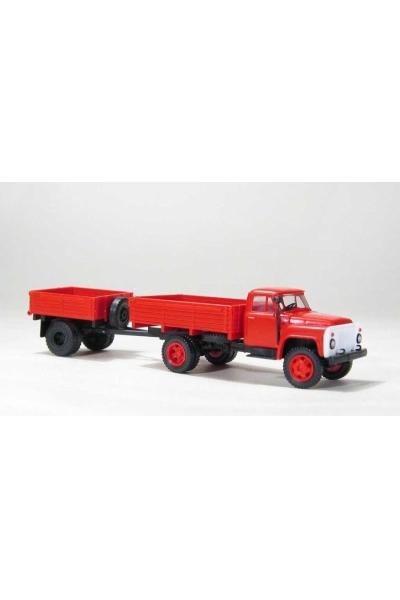 MM 33355 Автомобиль ГАЗ-52 бортовой + бортовой прицеп 1АП красный 1/87