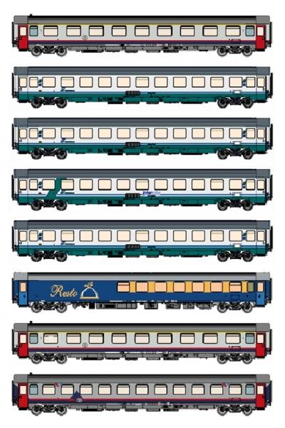MW 1603 Набор пассажирских вагонов EC 90/91 Brussel-Milano 2001-2004 SNCB/FS Epoche V 1/87