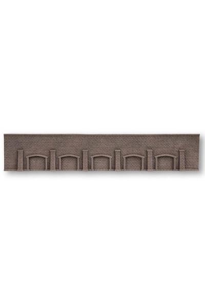 Noch 58277 Стена подпорная с колонами и арками обработанный камень 66.5Х12.5см 1/87