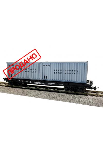Peresvet 53811 Платформа 13-401 с контейнерами МОРФЛОТ СЖД эпоха IV 1/87