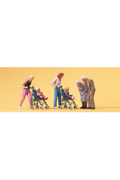 Preiser 10493 Мамы, дети в колясках, бабушки и дедушки 1/87