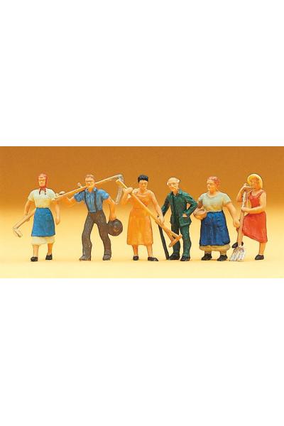 Preiser 14040 Сельские люди с мотыгами граблями и вилами 1/87