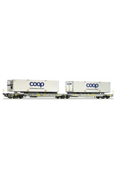 Roco 67385 Вагон платформа Sdggmrs T2000 AAE DSB Epoche V-VI 1/87