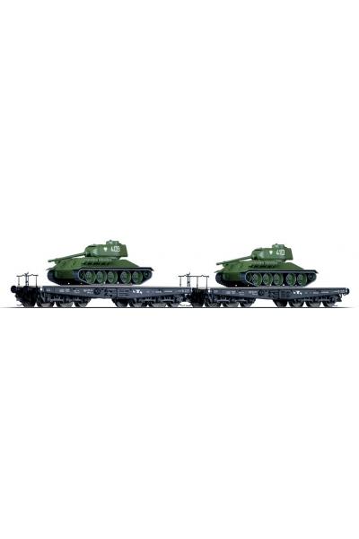 Tillig 01674 Набор вагонов + Т-34 PKP Epoche III 1/120